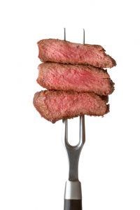 steak on fork
